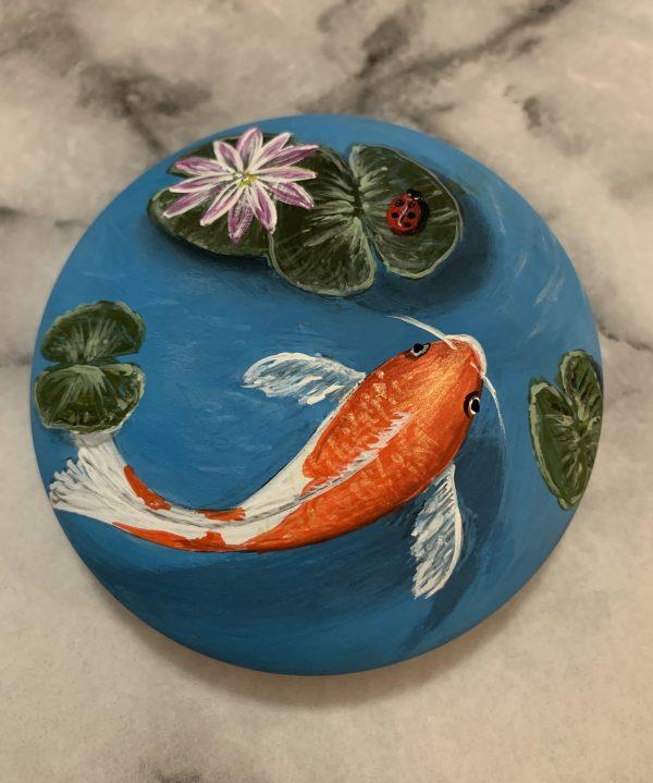 Original Koi Fish Painting on Rock